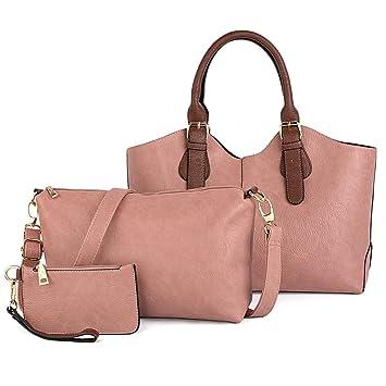 UTO Mujer bolso de mujer conjunto 3 piezas de bolsa de cuero PU bolso de hombro pequeño bolso monedero correa de la cartera de color rosa: Amazon.es: ...