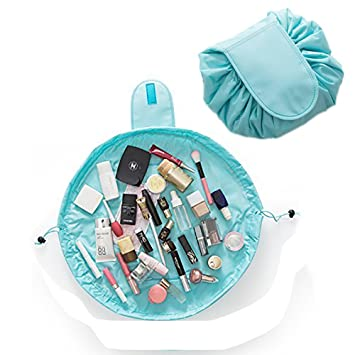 8d9afc4db9ae Lemoncy Lazy Portable Makeup Bag Waterproof Drawstring Cosmetic Bag Makeup  Storage Organizer...