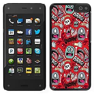 LECELL--Funda protectora / Cubierta / Piel For Amazon Fire Phone -- Wallpaper Mono Ojo colorido Aliens mano del cráneo --