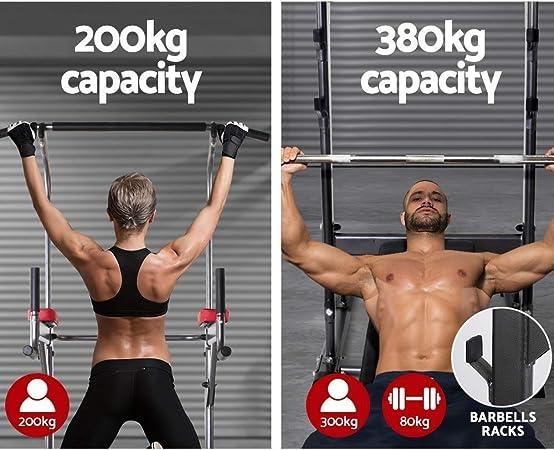 Pull up Fitness - Barra de tracción con Silla Romana y Banco Muscular, Color Negro y Rojo