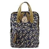 Micoop Waterproof Floral Backpack Handbag Travel School Bag for Girls and Women (Black Blue M)