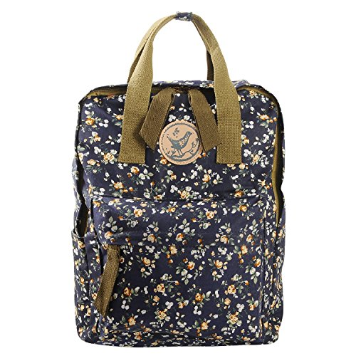 Micoop Waterproof Floral Backpack Handbag Travel School Bag for Girls and Women (Black Blue M) by Micoop