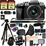 Panasonic DMC-G7KS Digital Single Lens Mirrorless Camera 14-42 mm Lens Kit, 4K + Accessory Bundle + 2 Transcend 64 GB High Speed 10 UHS-3 + LED Kit + Polaroid 72' Tripod + Monopod + Microphone + More