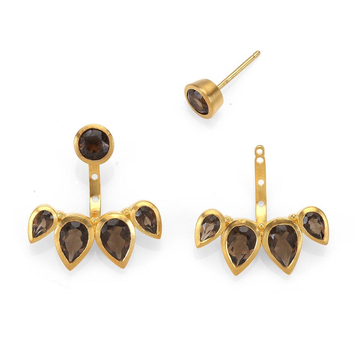 Satya Jewelry Smokey Quartz Gold Plate Petal Bezel Earrings Jacket