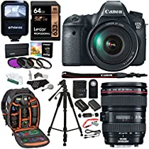 Canon EOS 6D 20.2 MP CMOS Digital SLR Camera with EF24-105mm IS Lens Kit + Lexar 64GB Memory Card + Ritz Gear Bag + 57