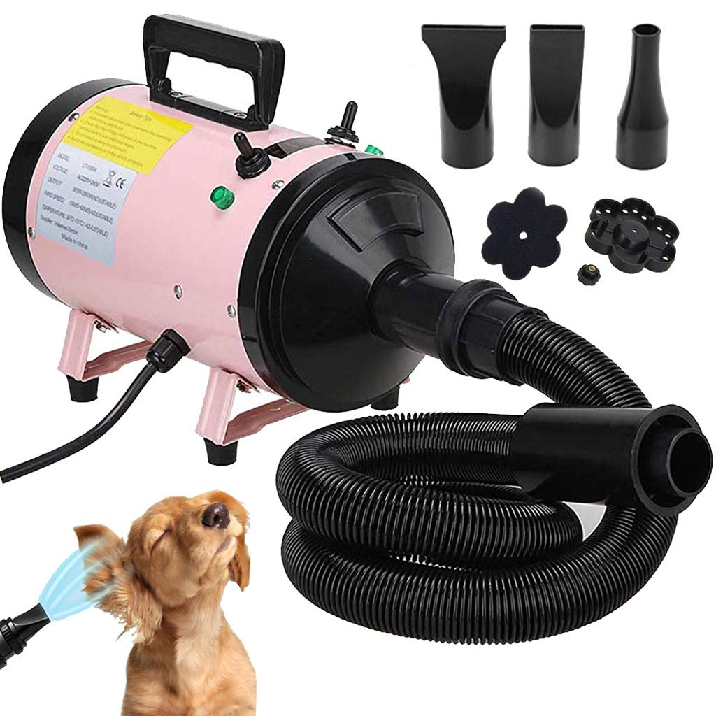 ZanGe 2800W Speed Dog Hair Dryer Dog Cat Pet Grooming Hairdryer Motorbike Car Heater Blaster Blower Adjustable Temperature Heater with 2.5M Flexible Hose and 3 Nozzles