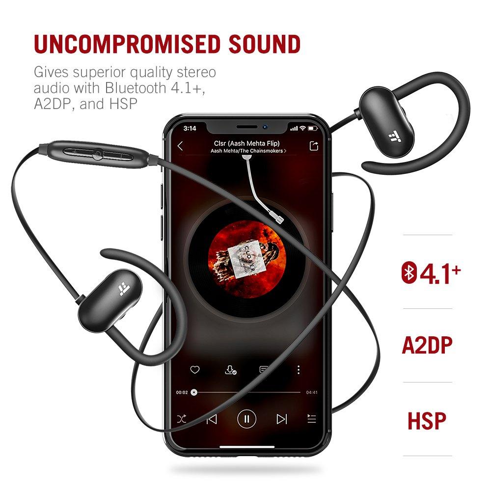 Auriculares Bluetooth 4.1 TaoTronics 12 Horas de reproducción, Auriculares Inalámbricos para Correr, Deporte (Ganchos de Oído de Silicón Suave, A2DP, ...