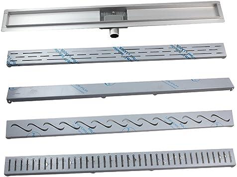 Acero inoxidable – Canaleta para desagüe de ducha Ducha plano desagüe canaleta para 4 Patrón: Amazon.es: Bricolaje y herramientas