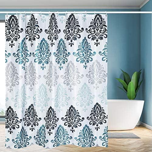 "Yelis Waterproof Shower Curtain 72""x72"" Polyester Fabric Shower Curtain with 12 Hooks Shower Curtain Kits for Bathroom and Bathtub(Light Blue)"