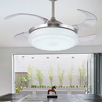 Lighting groups modern simple three changing color stainless steel lighting groups modern simple three changing color stainless steel led ceiling fan 42 inch invisible mozeypictures Choice Image