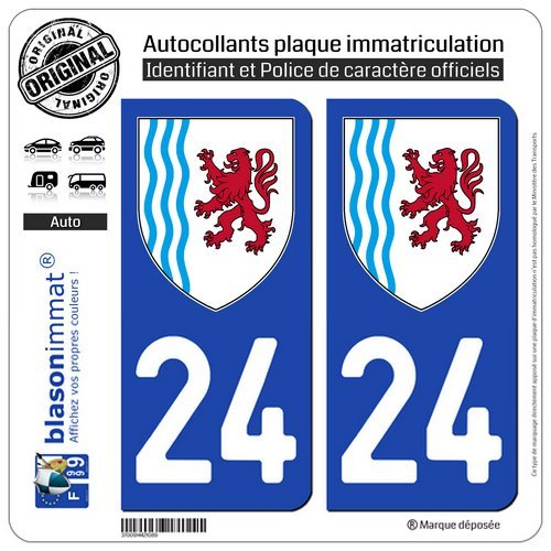 blasonimmat 2 Autocollants Plaque immatriculation Auto 24 Nouvelle-Aquitaine - Logotype