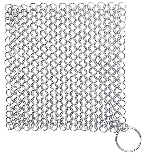Hiamago Premium Stainless Steel Cast Iron Cleaner Chainmail Scrubber Cookware Cleaner(8x6 - To How Off Scratches Take Glasses