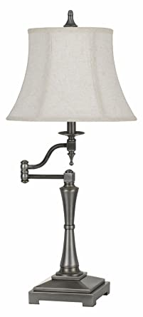 150w 3 Way Madison Metal Swing Arm Table Lamp With Softback Fabric