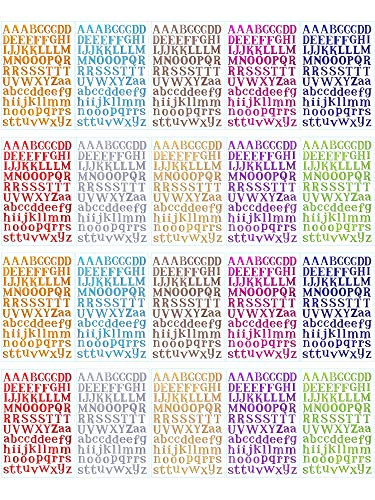 BBTO 20 Sheets Alphabet Letter Stickers 10 Colors Self Adhesive Sticker Colorful PU Material Convex Feeling (Colorful Letter -