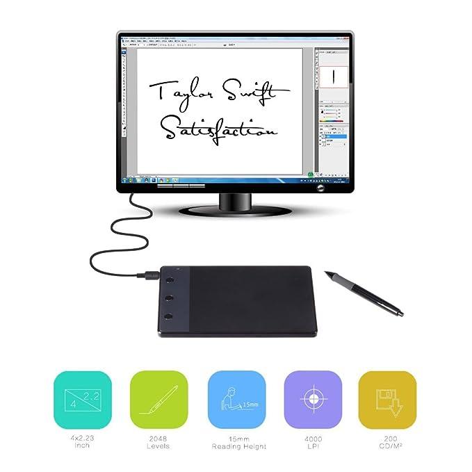 6 opinioni per HUION H420 Tavoletta Grafica Digitale Tablet Grafico di animazione con USB Firma