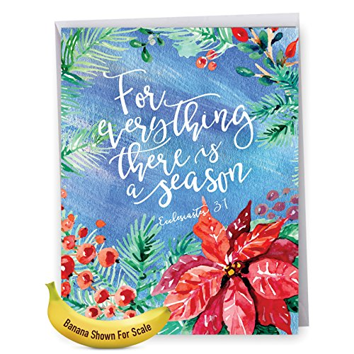 J5076SGG Jumbo Seasons Greetings Card: Season for Everything Featuring Biblical Quote Adorned with Watercolor Painted Blossoms, with Envelope (Extra Large Size: 8.5