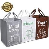Opret Cubo Basura Reciclaje 3 Pack Bolsas de Reciclaje Separadas con Asas Gran Capacidad 49L para Papel, Vidrio y Plástico, Ideal para Hogar/Oficina/Interior/Exterior