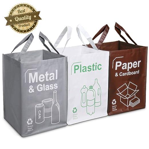 Opret Cubo Basura Reciclaje 3 Pack Bolsas de Reciclaje Separadas con Asas Gran Capacidad 49L para Papel, Vidrio y Plástico, Ideal para ...