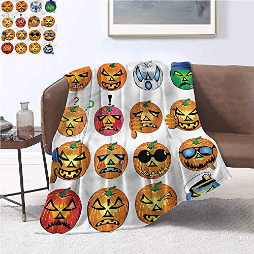 DILITECK Warm Blanket Halloween Pumpkin Emoji Warm All Season Blanket for W60 xL80 Traveling,Hiking,Camping,Full Queen,TV,Cabin]()