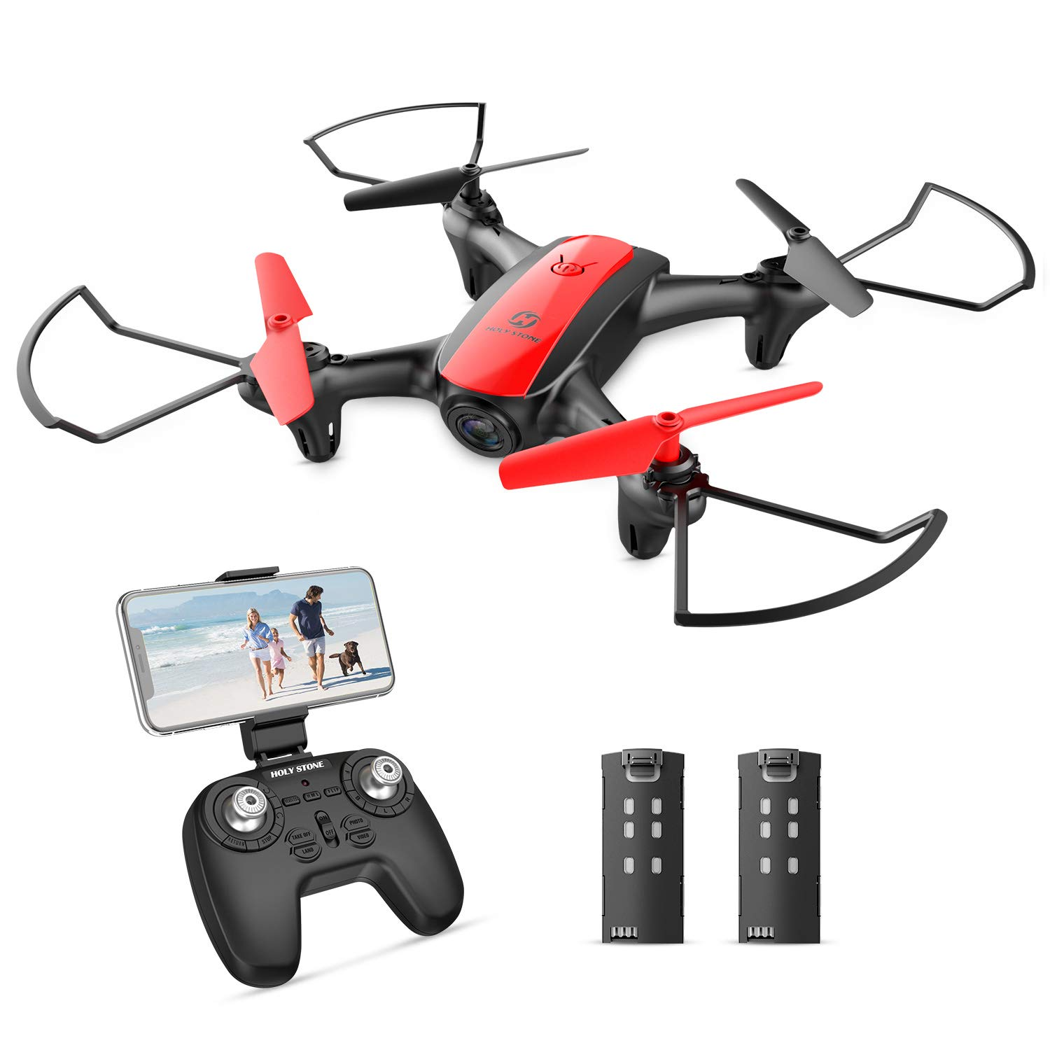 Holy Stone HS370 FPV Drone with Camera for Kids and Adults 720P HD WiFi Transmission, RC Quadcopter for Beginners with Altitude Hold, One Key Start/Land, Draw Path, 3D Flips 2 Modular Batteries by Holy Stone