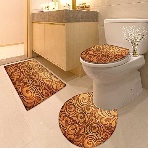 3 Piece large Contour Mat set Carved wooden ornament(You can find more templates and textures in my portfolio) Bathroom Rugs Contour Mat Lid Toilet Cover