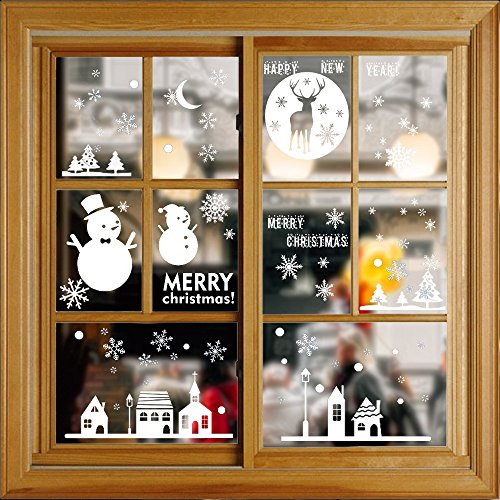 Free Christmas Decals (Christmas Snowflake Window Clings Decal Wall Stickers Non-adhesive - Christmas Tree/Reindeer/Snowman-Winter Wonderland New Year Party Decorations,4 Sheets)