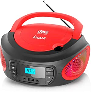 Lauson LLB596 CD Player Portable Boombox with FM Radio | Color Changing Lights | Portable Radio with USB Port to Play Music | Cd Player for Kids | Headphone Jack 3.5mm (Red)