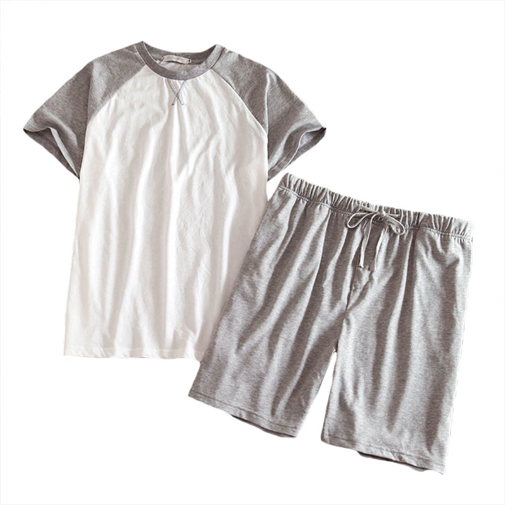 Yiwa Men Stylish Cotton Home Wear Set Short-Sleeve T-Shirt & Short Pants Pajama Set Gift White and Gray XL