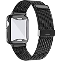 KEOLUS Compatible for Apple Watch Band 38mm 40mm 42mm 44mm with Screen Protector, Soft TPU Protective Case with Stainless Steel Mesh Loop Replacement for iWatch Band Series 5 4 3 2 1