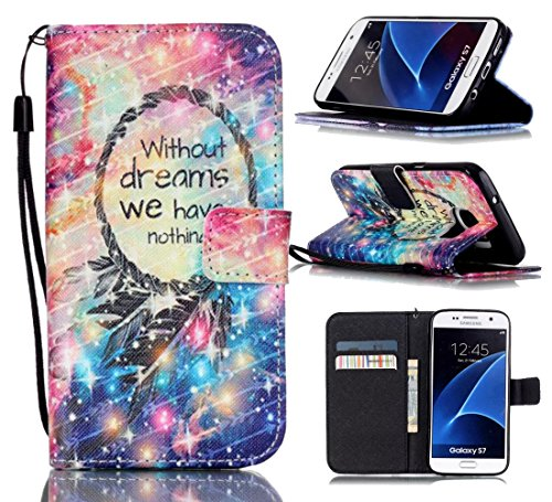Tikeda-Galaxy S7/S7 Edge Beauty Leather Wallet Case Cover & Credit Card Holders For Samsung Galaxy S7/Galaxy S7 Edge With Hand Strap-2016 New (USPS Fast Shipping) (Samsung Galaxy S7, Without Dream)