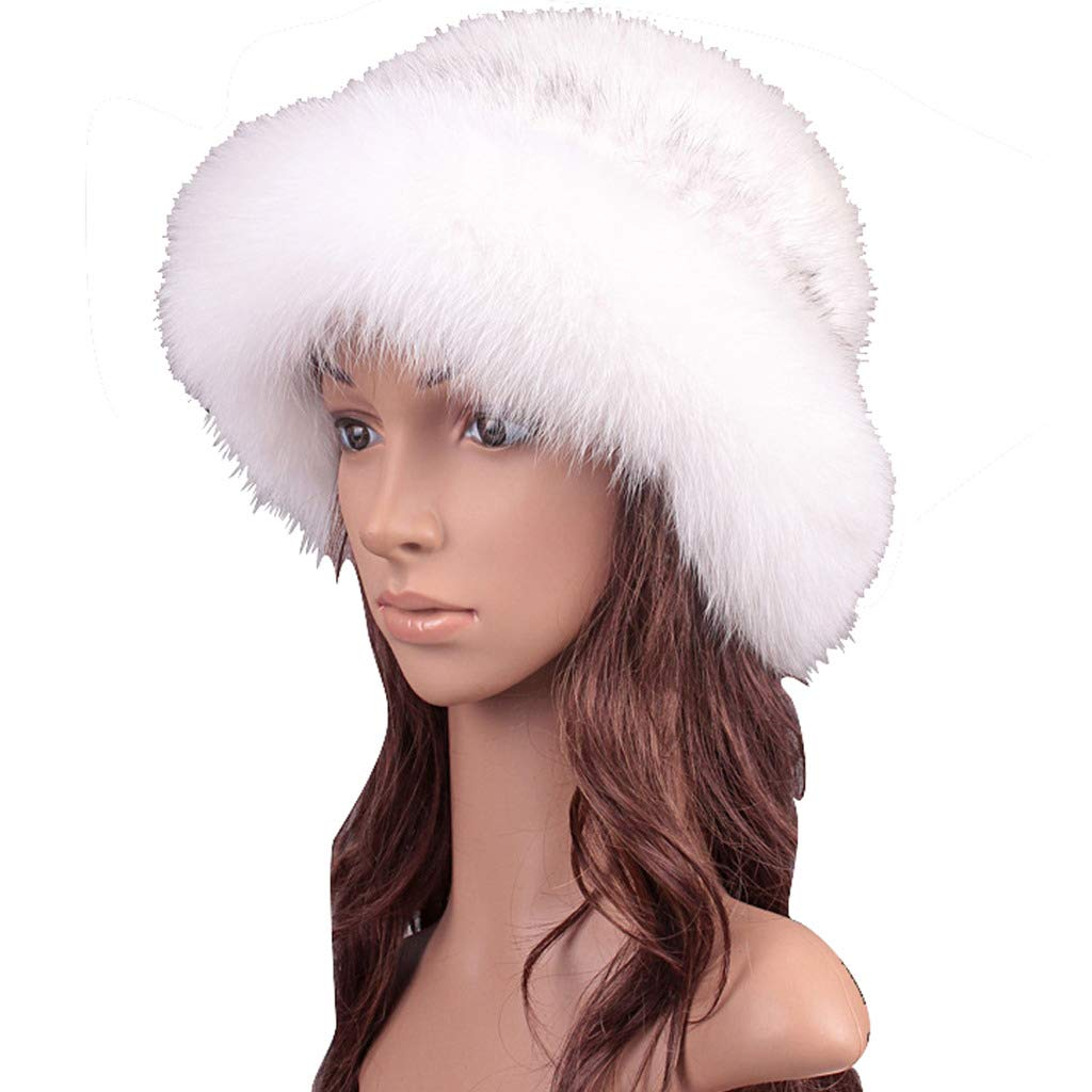 Womens Winter Hat Knitted Mink Real Fur Hats with Fox Fur Brim Elegant Hat for Women