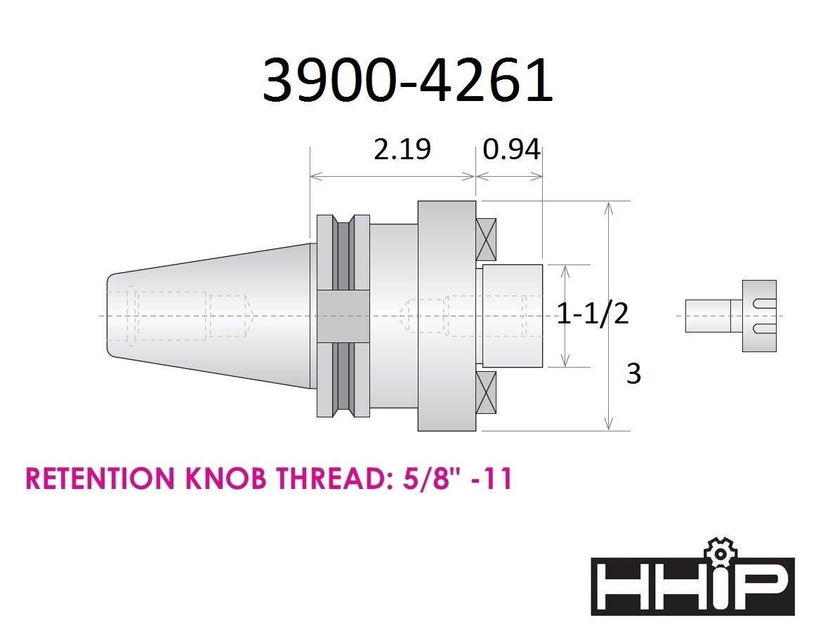 HHIP 3900-4255 3//4 x Cat 40 V-Flange Shell End Mill Arbor