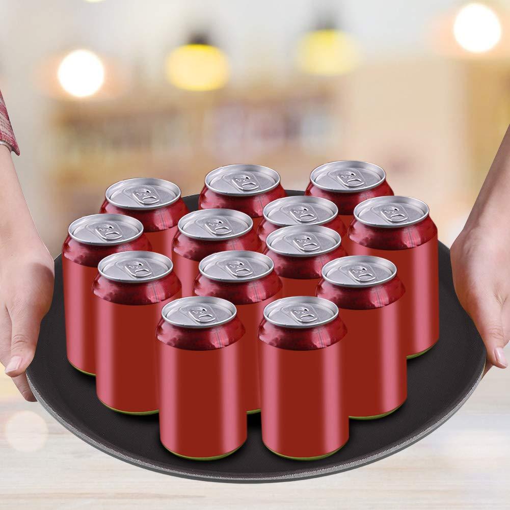 bandeja para gastrones Bandeja redonda de pl/ástico respetuoso con el medio ambiente bandeja antideslizante para t/é aperitivos 28cm fruta