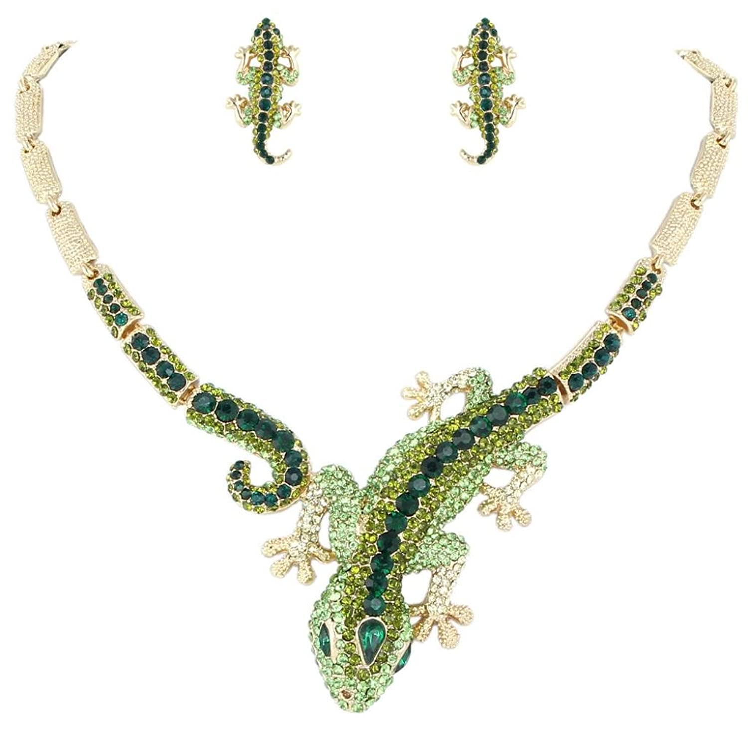EVER FAITH Austrian Crystal Art Deco Gecko Statement Necklace Earrings Set
