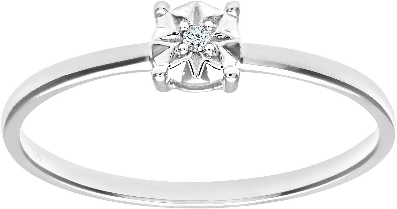 Naava Anillo de Mujer con Oro de 9 quilates (375) con Diamante Brillante