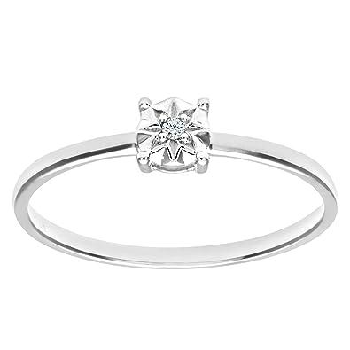 e58622a99e19 Naava Anillo de Mujer con Oro de 9 quilates (375) con Diamante Brillante   Amazon.es  Joyería