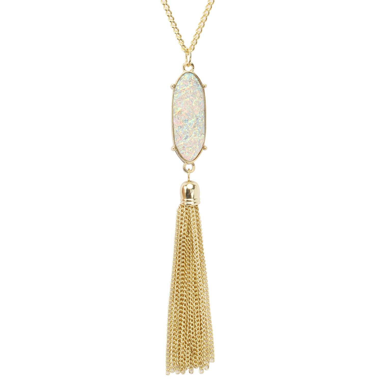 KISSPAT Long Necklace for Women Sparkly Faux Druzy Pendant Long Tassel Necklace Statement Jewelry KP002