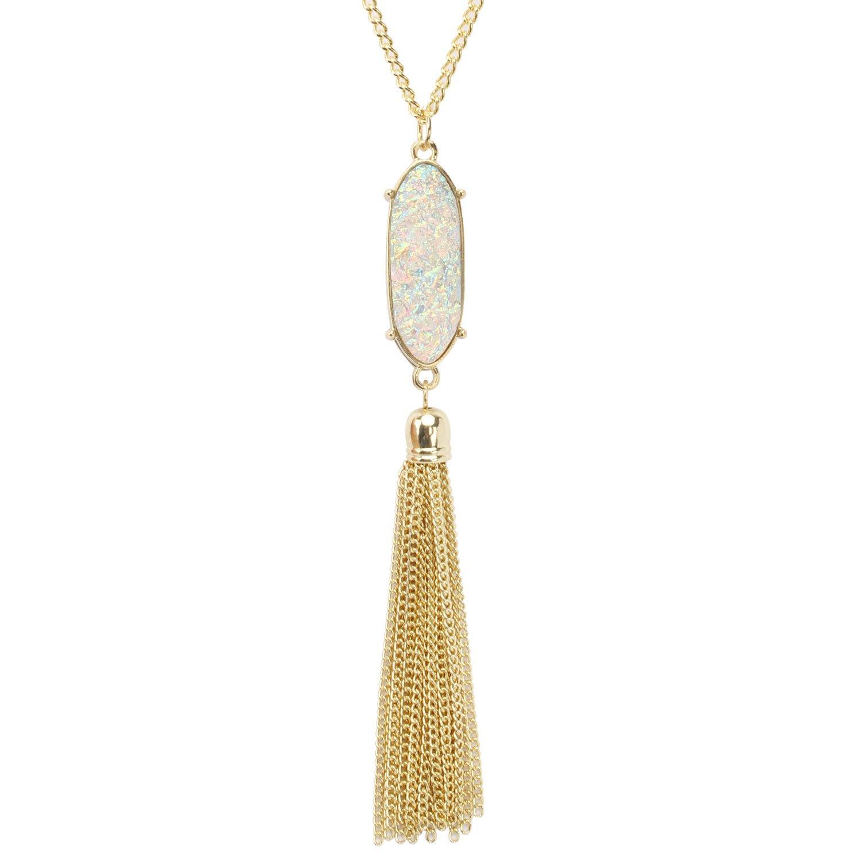 KISSPAT Druzy Pendant Tassel Necklace Gold Tone Long Chain Statement Jewelry for Women