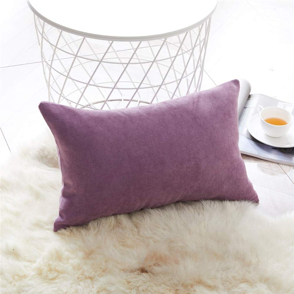 Yh9u Rectangular Cushion Cover Solid Color Soft Linen Blend Wearable Living Room Bedroom Bedding Home Decoration Pillowcase Pillowcase (Color : Purple, Size : 50 X 50 cm) by Yh9u
