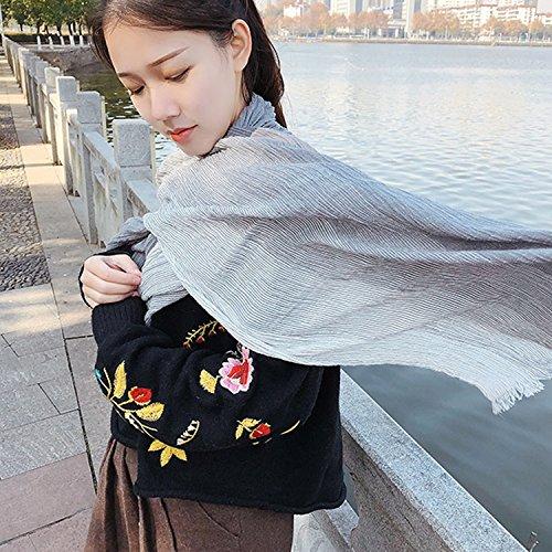 Kalevel Large Scarf Shawl Wrap Cotton Shawls and Wraps with Fringe - Dark Grey by Kalevel (Image #4)