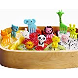 40 Pieces Cartoon Animals Fruit Forks Plastic Food Picks Mini Cute Toothpick Bento/Lunch Box Decoration by EORTA for…