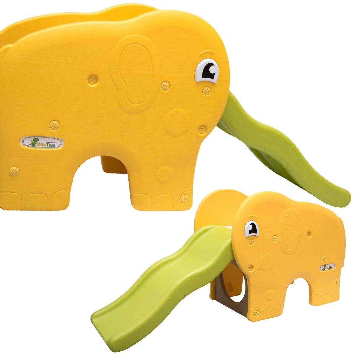 LittleTom Kinderrutsche Elefanten Kinder Rutsche extra breite Stufen Wellenrutsche Gartenrutsche Babyrutsche Gr/ün Gelb
