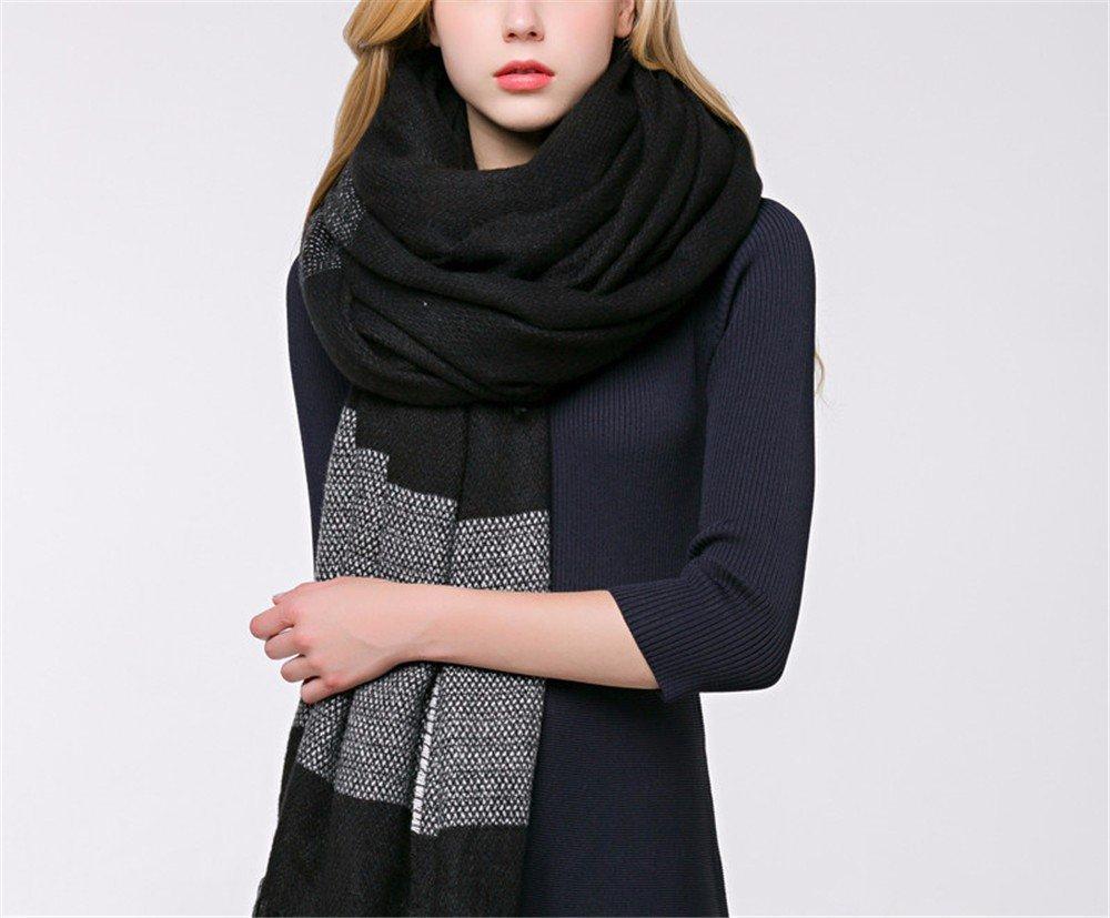 DIDIDD Scarf-simple lady otoño e invierno espesar cálidas borlas bufandas chales de doble uso