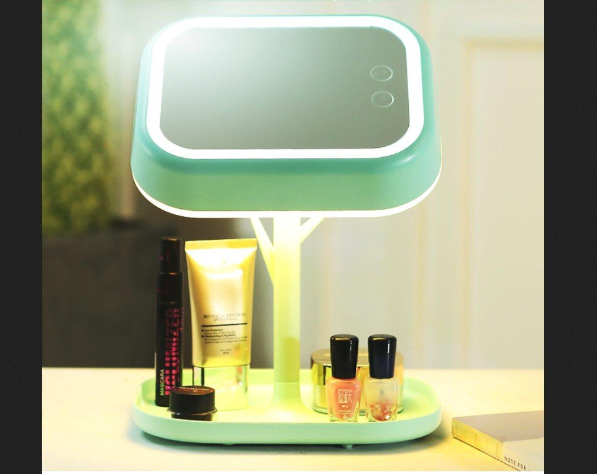 Shufei LED-Lichtspiegel 180 ° Rotary Rotary Cordless Kosmetikspiegel Lichtsteuerlinse Mit Touch Control Einstellbare Helligkeitsstufe Schreibtischlampen Und Nachtlichter