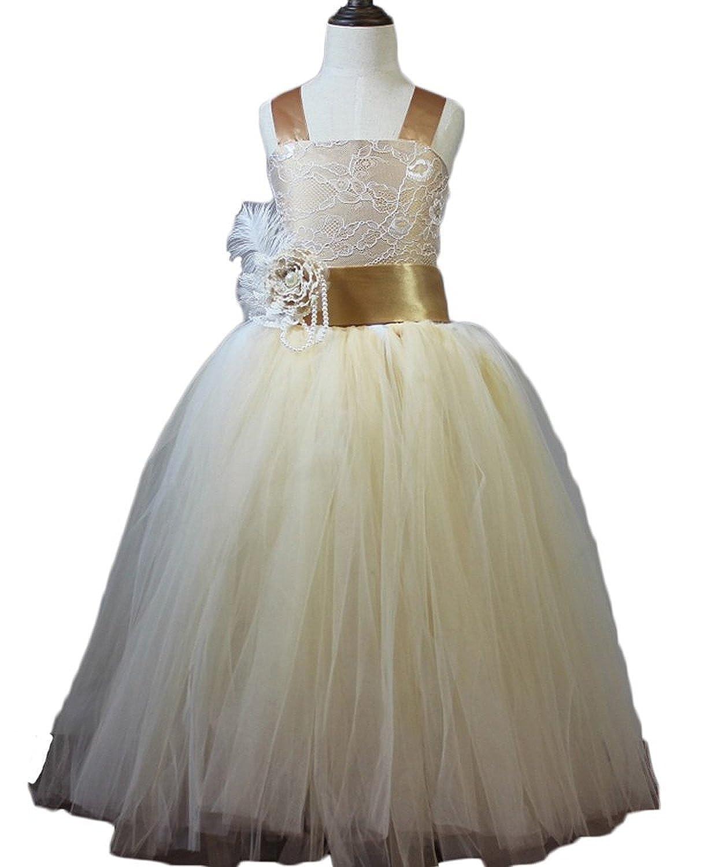 HotGirls Tüll Blumenmädchenkleid Spitze Ballkleid Prinzessin Kleid