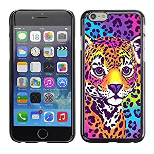 Design for Girls Plastic Cover Case FOR iPhone 6 Cheetah Panther Blue Electric Fur Colors OBBA