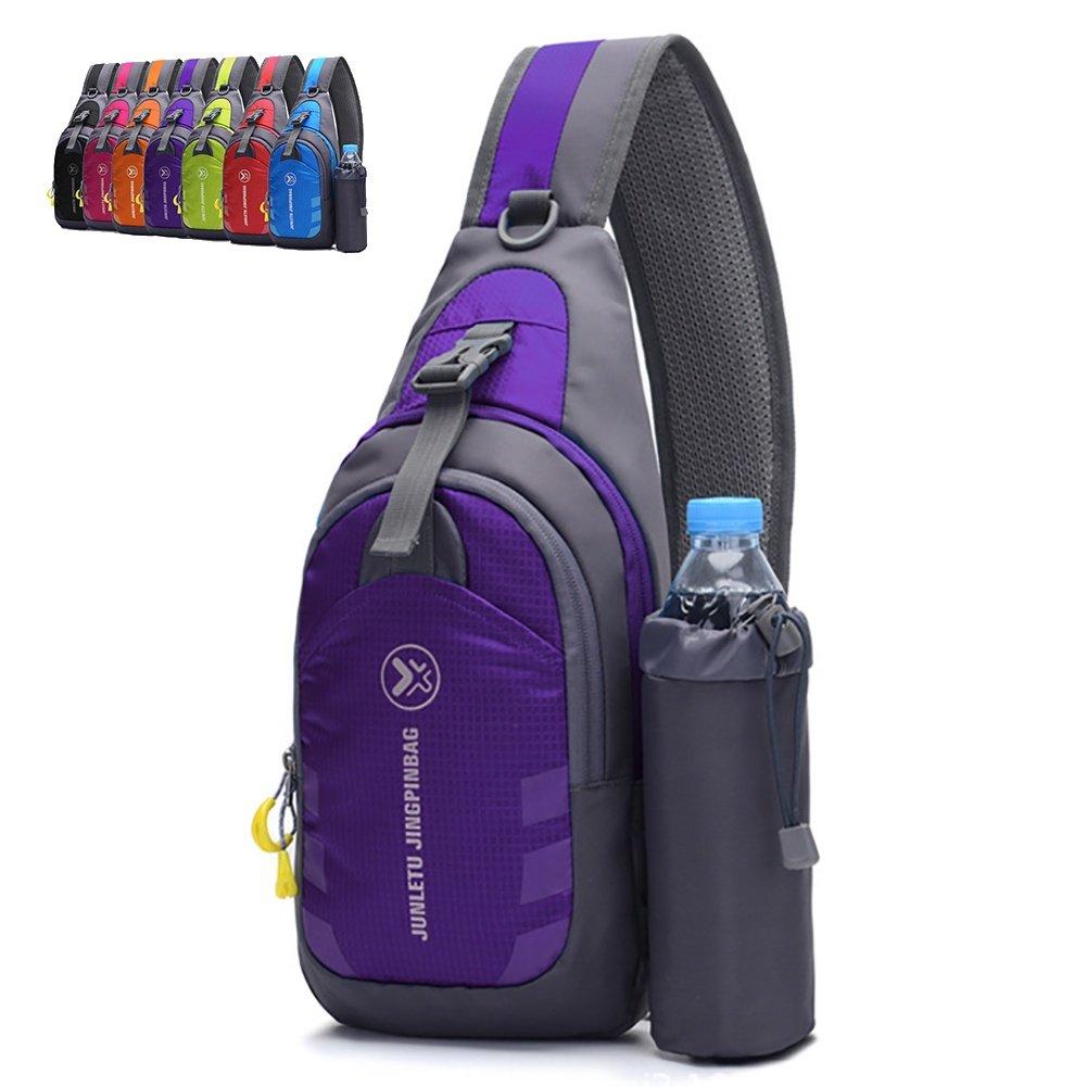 Peicees Chest Crossbody Backpack Sling Backpack Travel Bike Gym Outdoor Daypack Single Shoulder Sling Bag with Water Bottle Holder for Women Men Boys and Girls(Purple)