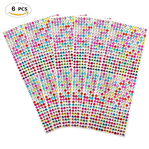 Tiny Letters - 3024 PCS, 6 Sheets Multicolor Self-Adhesive Rhinestone Sticker Sheet Crystal Diamond Bling Craft Jewels Gem, 6 mm by ZXSWEET