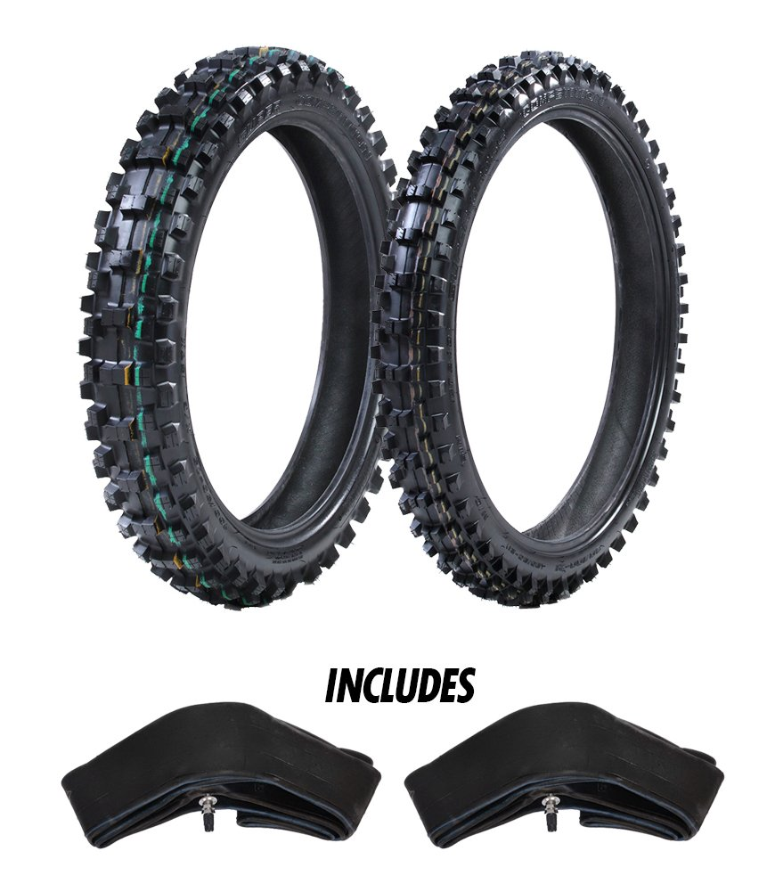 ProTrax Motocross Offroad Front 80/100-21 & Rear 110/100-18'' Tires & Tubes Combo Kit - Soft, Sandy, Muddy Terrain