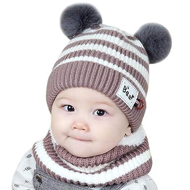 2551433663a Chapeau Enfant ADESHOP Mode Enfants garçon Fille d hiver Chaud Bonnet  tricoté bébé écharpe Chapeau